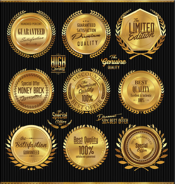golden luxury badge vector set