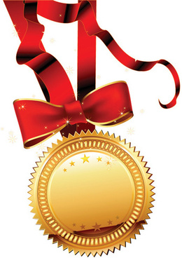 golden medal and red ribbons vector