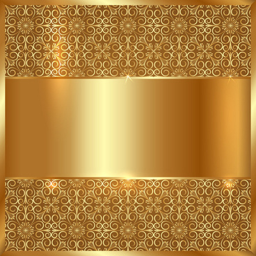 golden metal with floral background vector