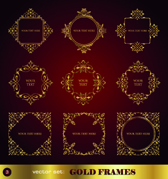 golden ornament borders and frame vector