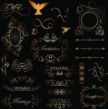 golden ornament labels with vintage frames vector