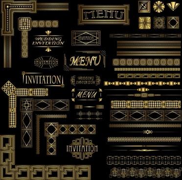 classic wedding decorative elements elegant shiny dark shapes