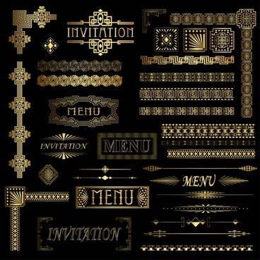card decor elements collection elegant classical golden shapes