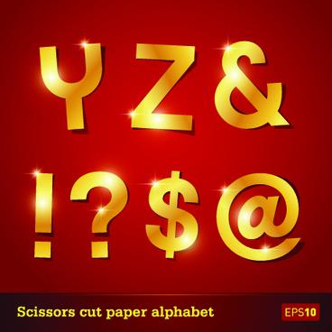 golden paper alphabet vector art