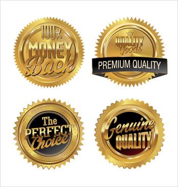 golden premium quality badge vector set