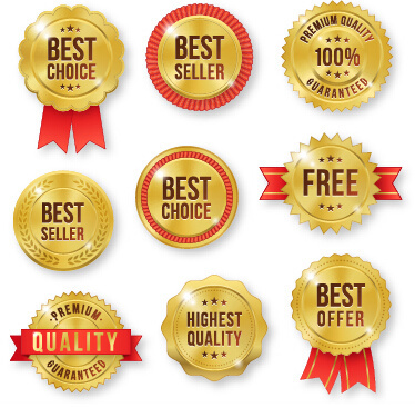 golden premium quality labels with red ribbon vector
