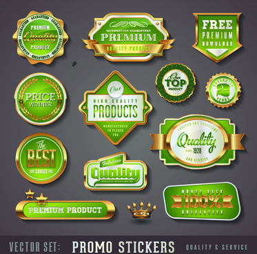 golden promo stickers labels vector set