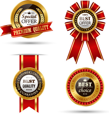 golden quality labels with red ribbon vector