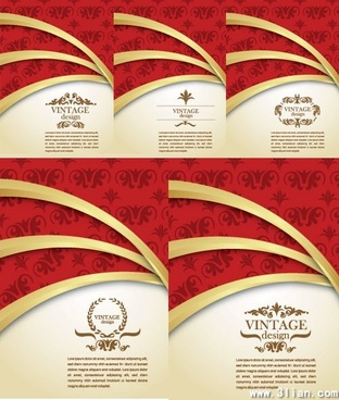 decorative background templates vintage elegant golden red decor