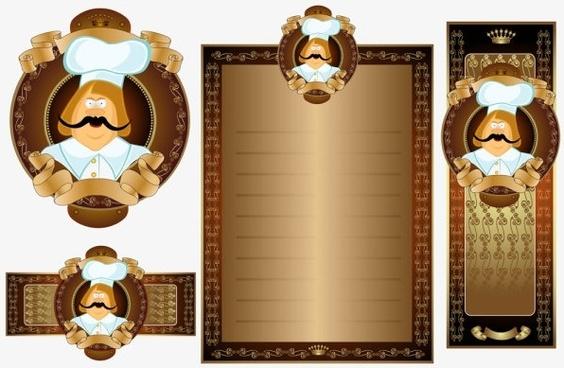 golden retro restaurant template 01 vector