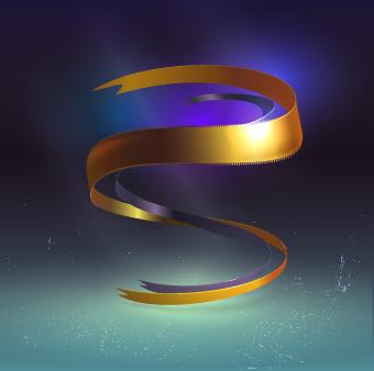 golden ribbon vector background