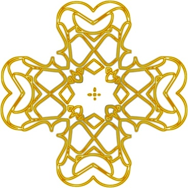 Golden Rounded Cross Outline clip art