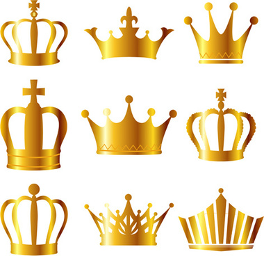golden royal crown bright vector