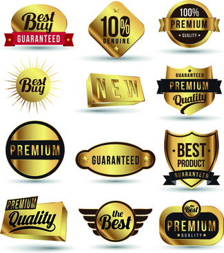 golden sale badges and label with stickers vector