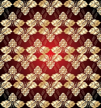 grapes pattern golden red symmetric repeating decor