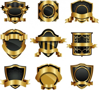 labels templates luxury golden black shiny 3d decor