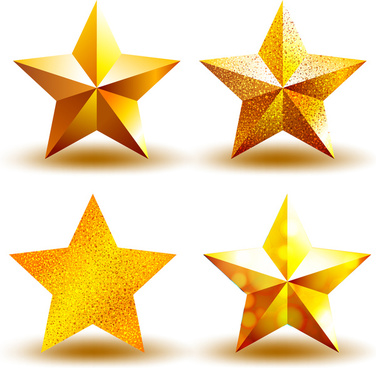 golden star icons set