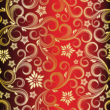 golden swirls floral pattern background design vector