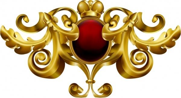 royal decorative template luxury golden symmetric european 3d