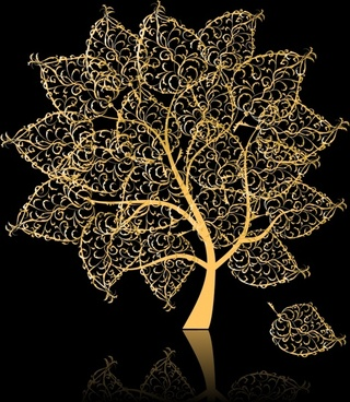 tree background seamless reflection decor black yellow design