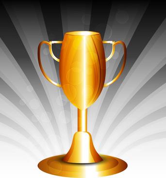 golden trophy shiny background vector design