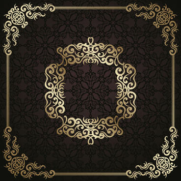 golden vintage frame vector background