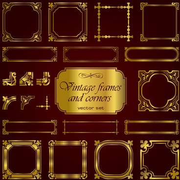 golden vintage frames and corners set vector