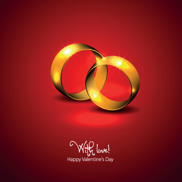 golden wedding rings valentine vector background