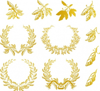 wreath design elements golden leaf icons decor