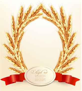 golden wheat with red ribbon vector background