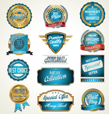 golden with blue labels vector