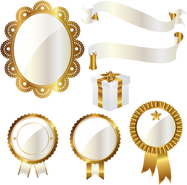 golden with white frame labels and ribbon