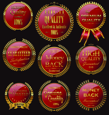 golden wreaths sale labels vector