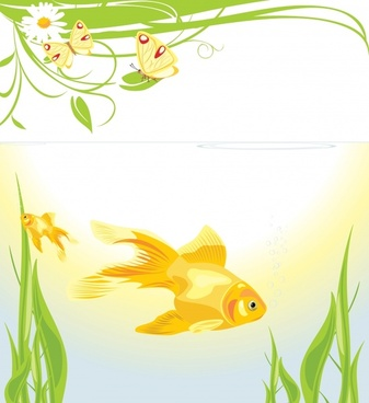 nature background goldfish butterflies flower decor