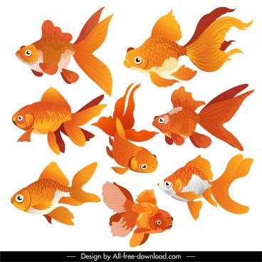 goldfish icons swimming motion sketch