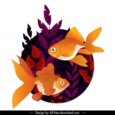 goldfish painting swimming sketch seaweed decor
