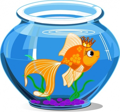 goldfish aqua icon cute cartoon design