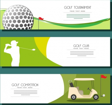 golf advertisement sets horizontal design various symbols decor