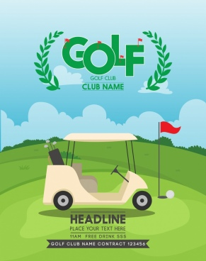 golf club advertisement car course icons text decoration