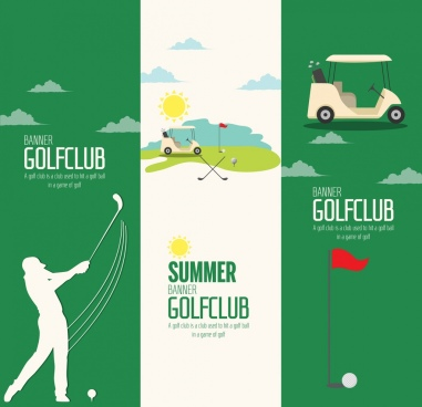 golf club advertisement sets vertical green white design