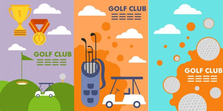 golf club brochure cover sets various multicolored design