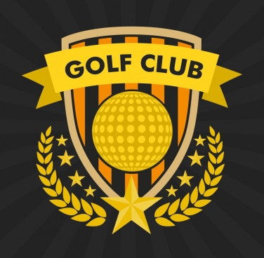 golf club logo classical yellow design