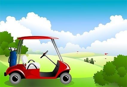 golf course under the blue sky vector