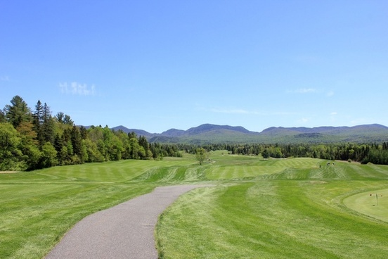 golf course view in the adirondack mountains new york