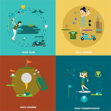 golf design elements illustration in flat colored style