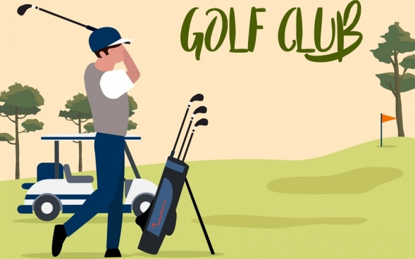 golf game background player icon cartoon design