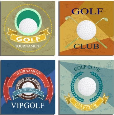 golf identity sets colored retro design