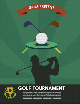 golf tournament flyer design with silhouette illustration