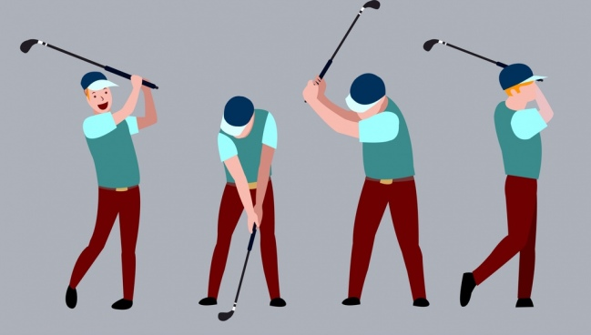 golfer icons design various gestures isolation