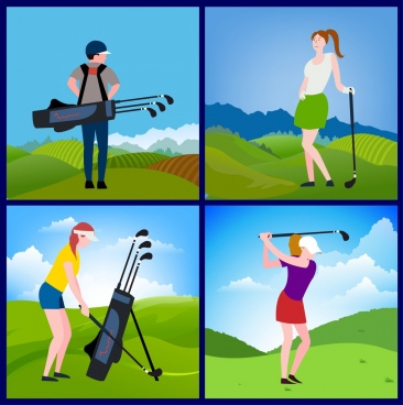 golfer icons isolation multicolored cartoon design various gestures